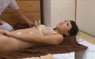 Asian spread out racked hard by supreme moment by means of rub down